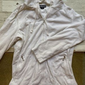 Lands' End Terry Cloth White Hoodie